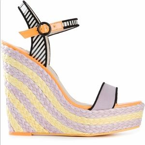 Sophia Webster Lucita Wedge Sandals Rainbow Purple